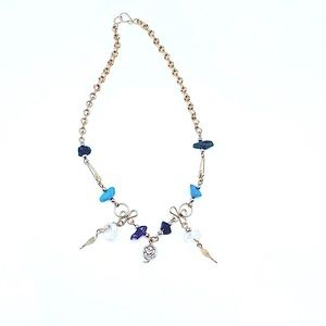 Handmade mixed stone anklet with silver rose charm